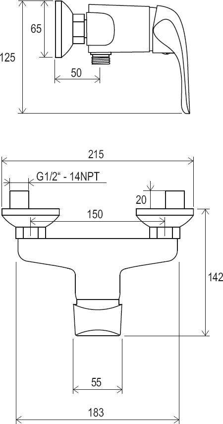 Sprchová nástěnná baterie Rosa 150 mm