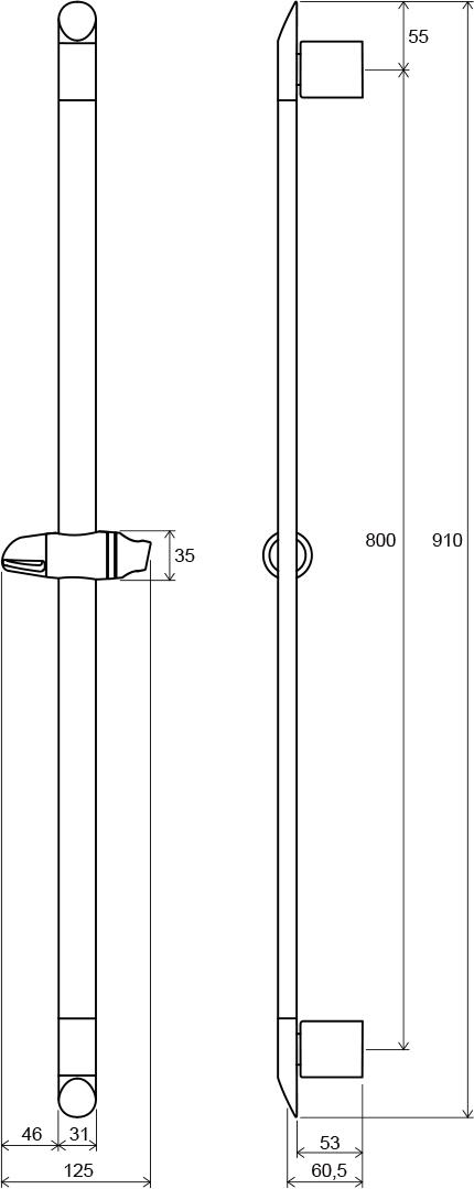 Tyč sposuvným držákem sprchy 90 cm