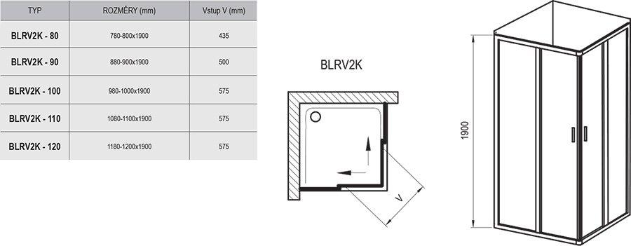Sprchový kout Blix BLRV2K