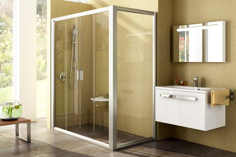 Sprchové dveře s pevnou stěnou Rapier NRDP4+RPS