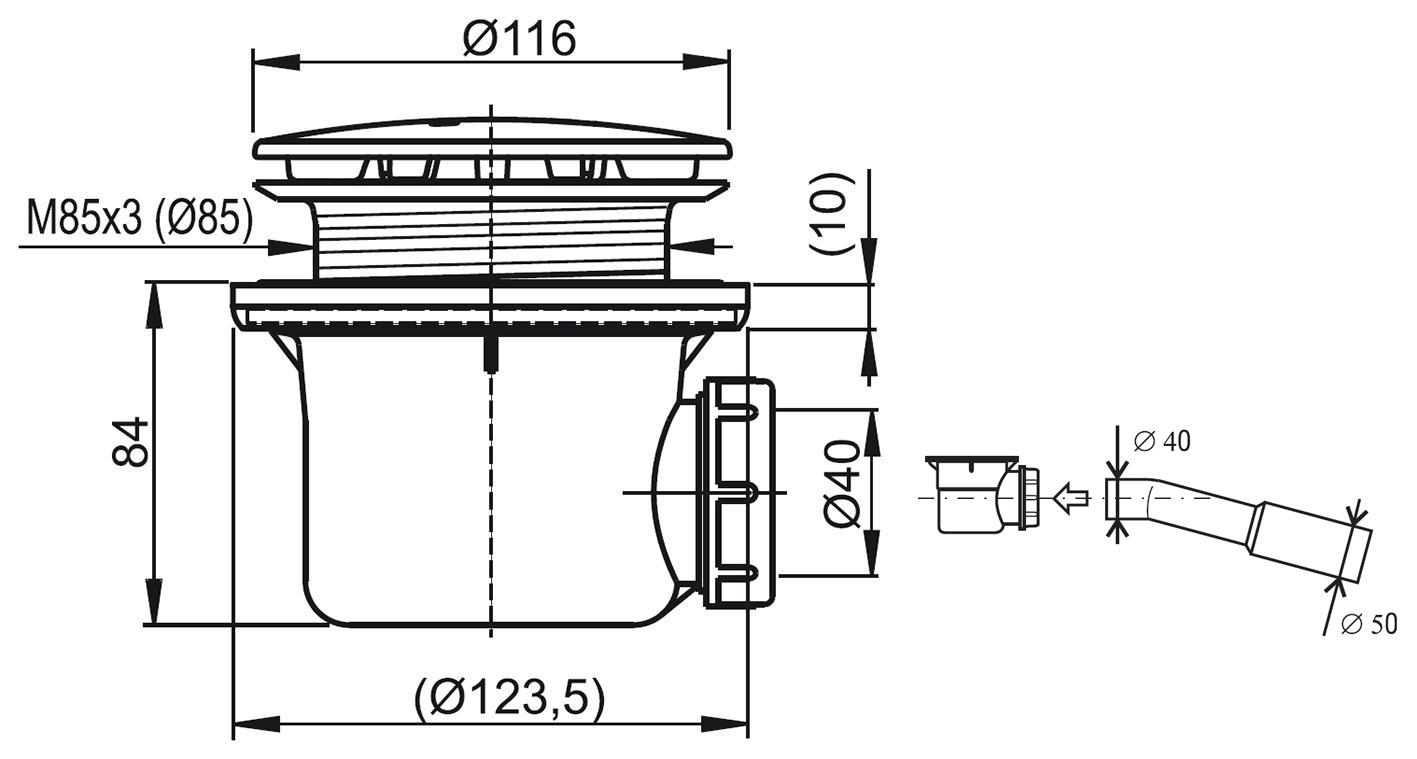 Vaničkový sifon RAVAK Professional 90