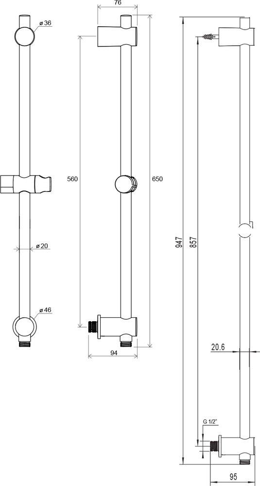 Tyč sposuvným držákem sprchy a stěnovým vývodem, 60 a 90 cm